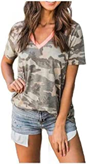 Coolred Womens Short Sleeve V Neck Blouse Patched Camo Printed Tees Top