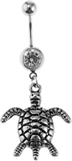 FITYLE Crystal Dangle Stainless Steel Ball Belly Navel Ring Button Barbell Piercing 14G