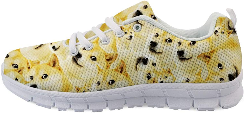 Owaheson Laceup Sneaker Training shoes Mens Womens Doge Meme Crazy Shiba Inu