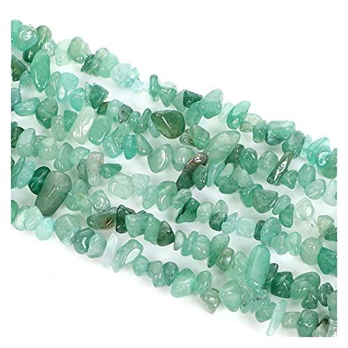 JSJJAHN Piedras y Cristales Aventurina Verde Forma Irregular Freeform Chip Piedra Natural Separadores Sueltos Spacer Beads Suministros para Hacer Pulseras 3-5-8 mm