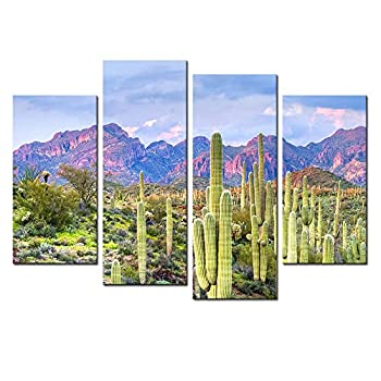 Nachic Wall 4 Picce Picture Wall Art Beautiful Cactus in Arizona Picture Print on Canvas Desert Sunset Landscape Painting Artwork for Living Room Bedroom Decor Framed Ready to Hang