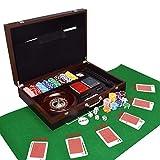 AMAIRS Juego De Fichas De Poker, 200 Piezas Clay Chips Juego Multifunción Caja De Madera Juego Texas Hold'em Blackjack Baccarat Dice Roulette Set