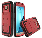 Rugged Tough [Dual Layer] Armor Overlay Case [Shockproof] Protective Hybrid Case Galaxy S7 (Bumper - Red)