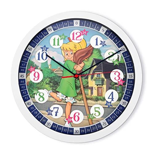 Geräuscharme Kinder Wanduhr Lernuhr Uhr für Mädchen und Jungen Kinderwanduhr 30 cm Durchmesser (Bibi)