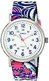 Timex Women's TW2P90200 Weekender Reversible Blue Swirl Nylon Slip-Thru Strap Watch