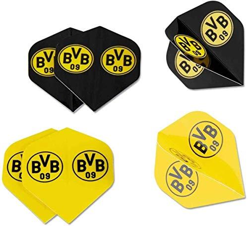 Borussia Dortmund Dartpfeil Flights - 6er Set - Dartflights + BVB 09 Aufkleber