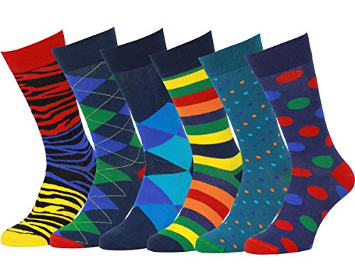 Easton Marlowe 6 PR Calcetines Estampados Hombre - 6pk #11, mixed - bright colors, 39-42 EU shoe size