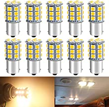 Qoope - Pack of 10-3000K Warm White 1156 BA15S 1141 1003 1073 7506 LED Bulbs 5050 27-SMD Replacement Lamps for 12V Interior RV Camper Trailer Lighting Boat Yard Light Bulbs