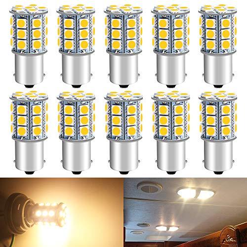 DEFVNSY Lot de 10-1156 BA15S 5050 27-SMD Ampoules LED Lampes pour éclairage intérieur 12V DC pour Camping-Car, Feux de recul ou Feux de freinage arrière, 3000K Blanc Chaud
