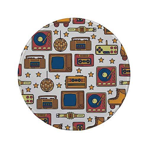 Rutschfreies Gummi-rundes Mauspad 90er 90er-Jahre-Thema mit altmodischem Recorder Stereo-Fernseher Rollschuhschuhe Elektronische Uhr Senf 7.9