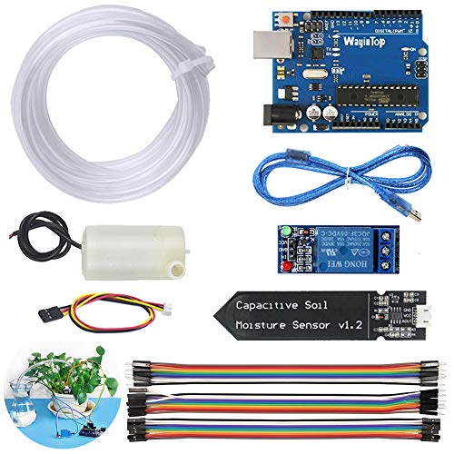 WayinTop Upgrade Automatic Irrigation DIY Kit Self Watering System for Garden Plant Flower, Development Board + Soil Moisture Sensor + 1 Channel Relay + Water Pump + 1M Vinyl Tubing + Jumper Wire