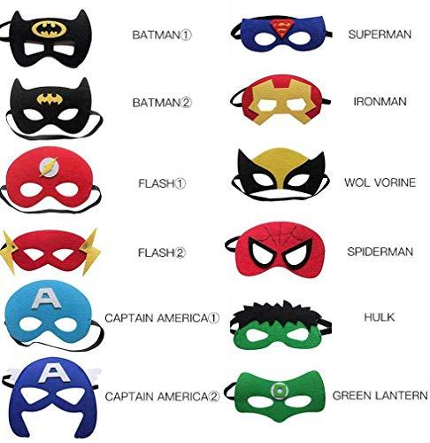 Superhelden Masken Kinder Cosplay, Superhelden Maske Kinder Herren Damen Erwachsene, HalloweenMaskenKinder Mask Gesicht Kindermaske Filzmasken Kindermasken Geburtstag (12 Stück)