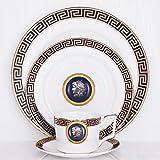 SZJY Juegos de Vajillas 16 Piezas de Porcelana, Conjuntos Bandejas de cerámica y Taza de café Bone China Vajilla Set Service Plate Familias, Entretenidas y Cenas-UNA
