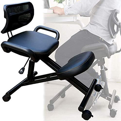 LNLJ - Silla ergonómica para rodillas con rodillo, respaldo y apoyabrazos, taburete ajustable para espalda saludable y postura vertical, cojines gruesos y cómodos (negro)
