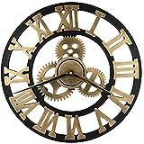 HOSTON Vintage Grande Rrologio da Parete 40CM 3D Design Moderno Legno Orologio da Parete Silenzioso,Orologio da Parete Digitale Shabby per Cucina, Soggiorno, Ufficio(Numeri Romani in Oro, 40cm)
