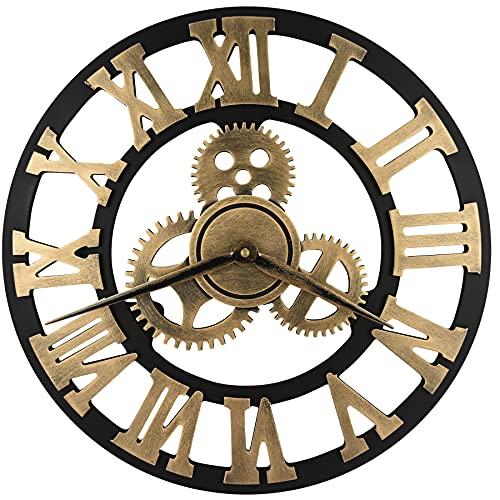 orologio da parete salotto HOSTON Vintage Grande Rrologio da Parete 40CM 3D Design Moderno Legno Orologio da Parete Silenzioso
