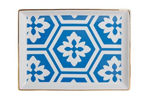 porland Morocco Muster 2 blau 18cm Frühstücksteller 1 Stück - Porzellan Farbteller, Vorspeisenplatte