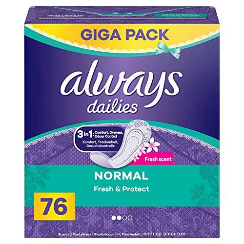 Always Dailies Slipeinlagen Damen Fresh & Protect Normal (76 Binden) Giga Pack, mit dezentem Duft, atmungsaktiv, flexibel und komfortabel mit saugfähigem Kern