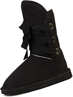 SODIAL Winter Woolen Lace Up Snow Women Boots Shoes ladies black-US 9 =China 40 = foot length 25cm