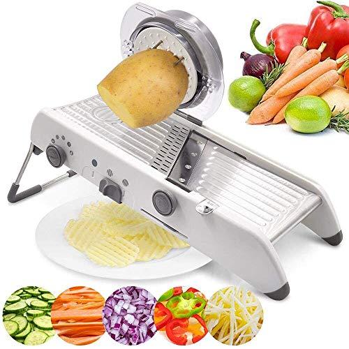 Herramienta de cocina para verduras, cortador de mandolina, cortador manual de verduras, rallador profesional con cuchillas ajustables de acero inoxidable 304