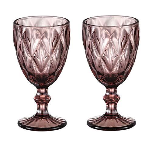 HUHUXIAOWU Copa de Vino, Copa de Cristal Coloreada, 6 oz / 10 oz, diseño Vintage en Relieve, Copa de Cristal Transparente Alta para Fiesta, Boda (Prismático/Morado/Juego de 2, 10oz)