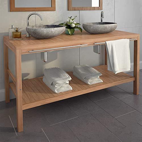 ROMELAREU Waschtischunterschrank Teak Massiv mit Flussstein Waschbecken Möbel Schränke Wasch- und Schminktische Badezimmerwaschtische