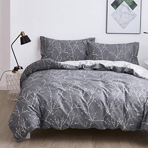OAITE Duvet Cover Set, 100% Cotton Duvet Cover, Ultra Soft and Easy Care, Bedding Twin Queen King Size Set, 3-Piece Duvet Cover Set Includes 2 Pillow Shams (Branch, King)