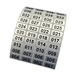 EXTRONTONDA Consecutive Number Inventory Stickers Waterproof 0.39 x 0.78 Inch Black Printing On Silver Sticker (001 to 1000)
