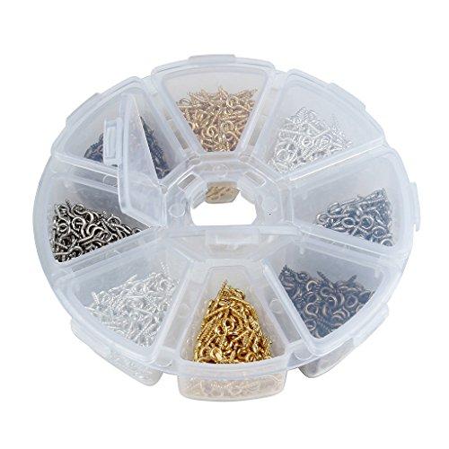 Sharplace 800 Stück Eisenschraube Augenstift Öse Verbinder Schraubösen für Anhänger aus Metall mit Aufbewahrungsbox
