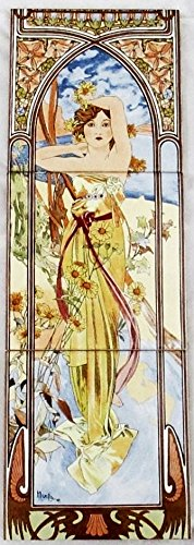 tagsüber Dash Daybreak Tile Panel Mucha Damen Fliesen Deko Hand Made in der UK) Dunkelviolett