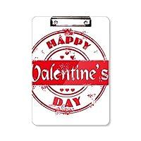 消印の幸せなバレンタインデー・レッド フラットヘッドフォルダーライティングパッドテストA4