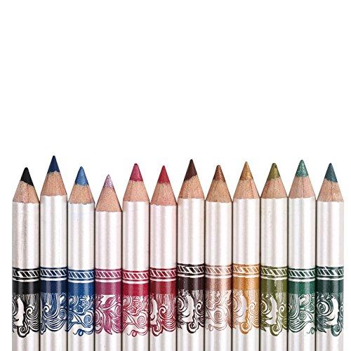 YYF 12 PCS Colorful Eyeliner Pen Waterproof Shadow Eyeliner Eyebrow Liner Pencil Pen Makeup Cosmetic Set Kit Tool