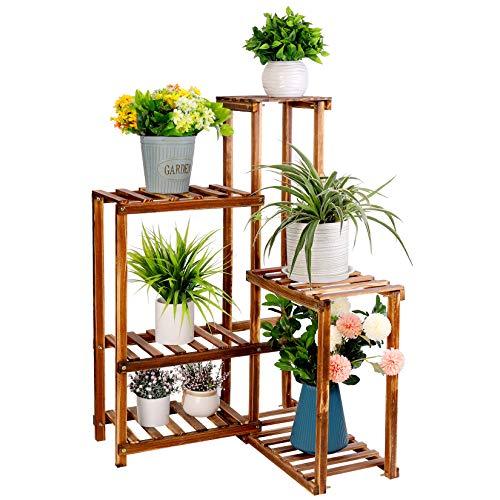 unho Plant Corner Stand 6 Tier Wood Shelf Indoor Outdoor Garden Patio Displaying Shelves Rack for...