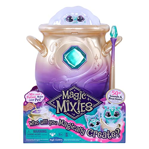 Magic Mixies Magical Misting Cauldron with Interactive 8 inch Blue Plush Toy and 50+ Sounds and Reactions, Toys for Kids, Ages 5+