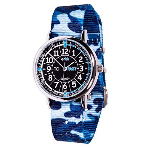 EasyRead Time Teacher ERW-BKB-PT-BC Reloj Negro Azul Pasado a, Correa Azul Camo