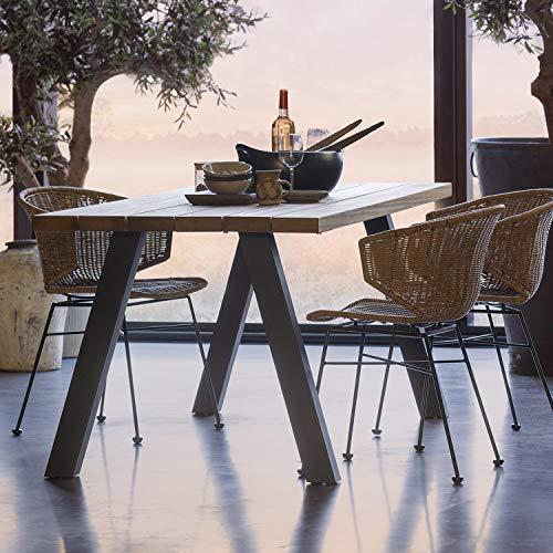 Mesa de comedor Tablo 210 x 81 cm, mesa de jardín de madera, mesa térmica Ayous de metal