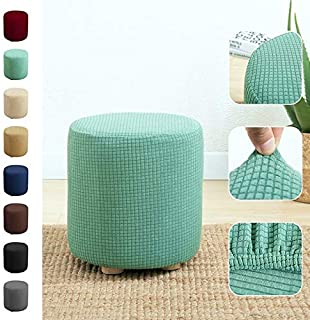 JJSFJH Round Stool Cover Ottoman Cover Solid Color Stretchable Elastic Shoe Replacement Stool Cover (Color : 07)