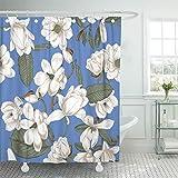 Brown Bouquet Magnolien Blumen mit Botanik Frühling blühende Bäume Gemüse Muster Garten grün Vintage Duschvorhang wasserdicht Badezimmer Dekor Polyester Stoff Vorhang Sets mit Haken 60 x 72 Zoll