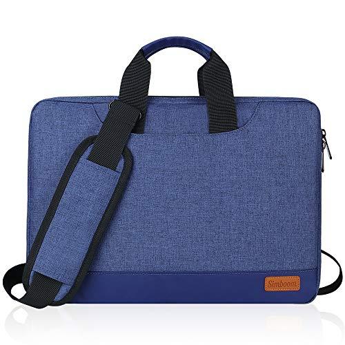 SIMBOOM Laptoptasche, Laptop Hülle 15-15,6 Zoll mit Schulterriemen&Gepäckgurt, 15 Zoll Tragbar Notebooktasche kompatibel PC Laptop Schutztasche Asus Dell Fujitsu Lenovo HP Toshiba - Blau