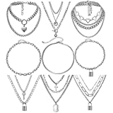 9 PCS Chain Necklace Egirl Men Male Emo Goth Chains Statement Lock Key 1-4 Layered Pendants Necklace for Women Teen Girls Boys Eboy Long Multilayer Chains Punk Choker Silver and Gold Set