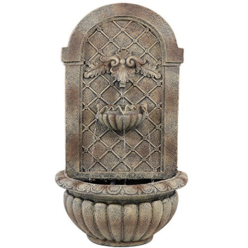 Sunnydaze Venetian Outdoor Wall Water Fountain - Waterfall Wall Mounted Fountain & Backyard Water Feature - Florentine Stone Finish - 27 Inch