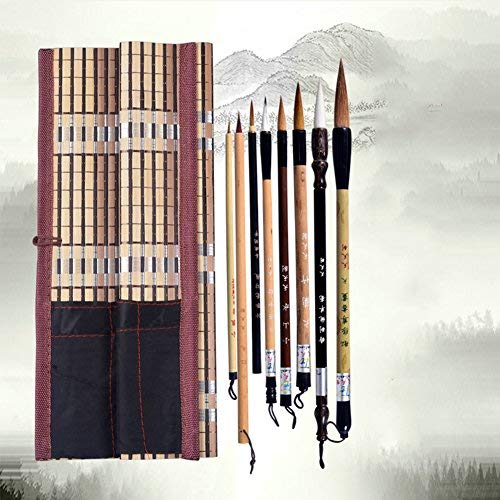Chinese Brush, Writing Brush for Professional Calligraphy Kanji Japanese Sumi-e Drawing (8-Pieces Set)