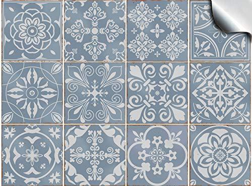 Tile Style Decals Fliesenaufkleber für Bad und Küche 24 stück (T1 - Blue) | Mosaik Wandfliese Aufkleber für 15x15cm Fliesen | Deko Fliesenfolie für Bad u. Küche