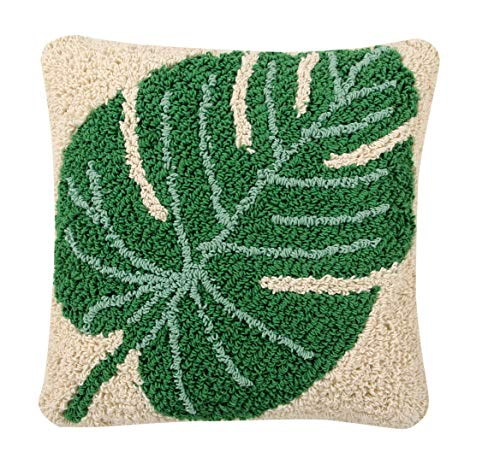 Lorena Canals Monstera Coussin Coton Polyester Vert 38 x 38 x 30 cm
