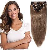 8'-24' Extension a Clip Cheveux Naturel Lisse - Rajout Vrai Cheveux Humain - 8 Bandes Volume Fin (#6 NOISETTE, 20cm-45g)