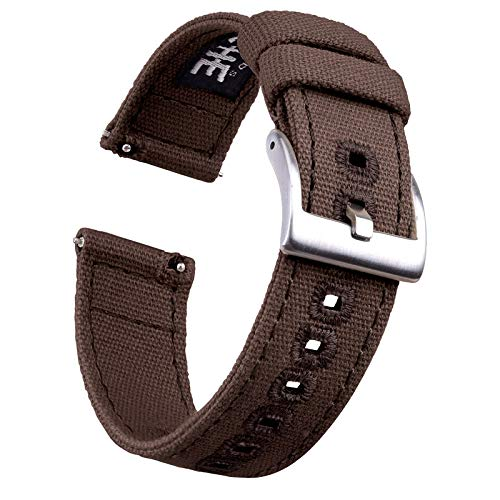 20mm Dark Brown Canvas Quick Release Watch Bands Compatible...