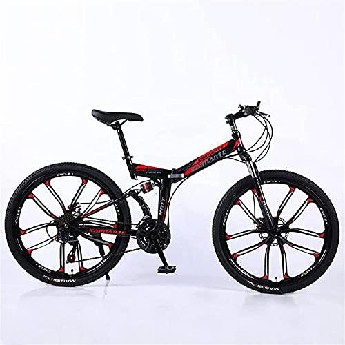 Bicicleta de montaña de 26 Pulgadas, neumáticos Antideslizantes/Sistema de Frenos de Doble Disco 21/24/27 Bicicleta de Velocidad Suspensión Completa Bicicleta Masculina Plegable,Blue,24 Speed