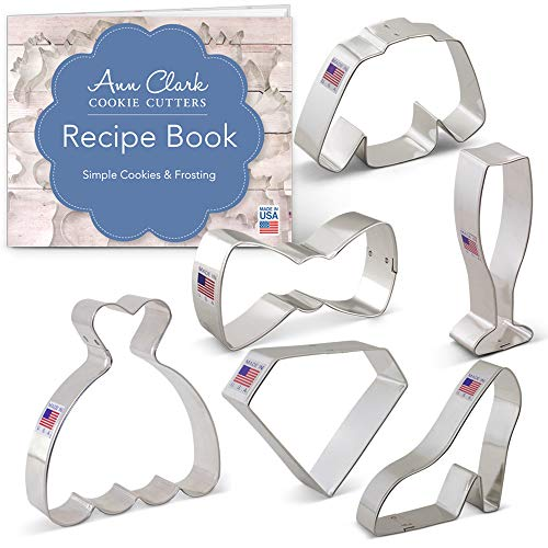 Ann Clark Cookie Cutters 6-Piece Black Tie/New Year's Party Cookie Cutter Set with Recipe Booklet, Bow Tie, Champagne Glass, Dress, Jacket, Diamond and High Heel Shoe