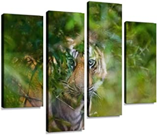 Wild Bengal tiger looks out from the bushes in the jungle India Canvas Print Artwork Wall Art Pictures Framed Digital Prin...
