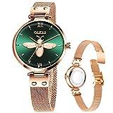 Women's Rose Gold Watch Mesh Watch for Lady,Womens Thin Watches Dress Casual Simple Classic Green Bee Watch,Small Wrist Ladies Watches,OLEVS Women Watch Waterproof reloj de Mujer